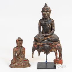 Two Burmese Gilt and Polychrome Buddhas