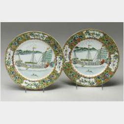 Pair of Rose Medallion Plates