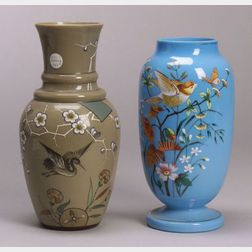 Two Aesthetic Movement Enamel Decorated Opaque Glass Vases