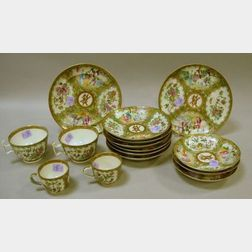 Fifteen-Piece Chinese Export Porcelain Rose Mandarin Pattern Partial Service