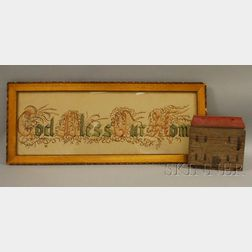 """Framed Painted Prayer """"God Bless Our Home,"""" and a Painted House on a Wood Block"""