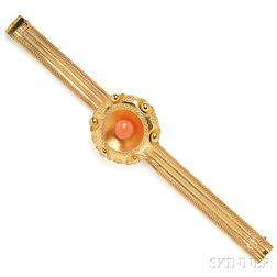 Antique Gold and Coral Bracelet