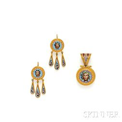 Antique Gold and Micromosaic Earpendants and Locket