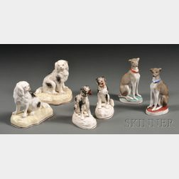 Three Pairs of Victorian Staffordshire Porcelain Dog Figures