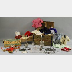 Late 19th Century Painted Pressed Tin-clad and Wood Strap Dome-top Dolls Trunk with Contents, a Group of Pressed Glass and Metal Playw