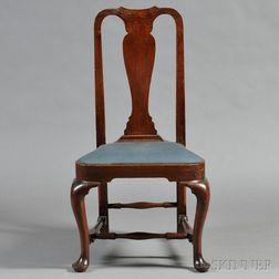 Queen Anne Walnut Compass-seat Side Chair