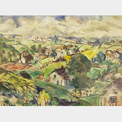 Leighton R. Cram (American, 1895-1981)      Houses, Hills and Clouds