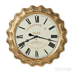 "E. Ingraham & Co. 32-inch Presentation ""Corrugated"" Gilt Gallery Clock"