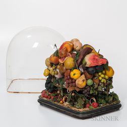 Large Wax Fruit Arrangement Under a Glass Dome