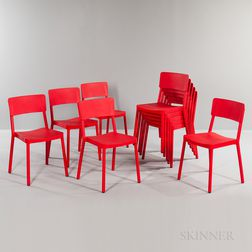 Ten Red Resol Group Barcelona Dd Plastic Stackable Chairs