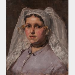 Charles Yardley Turner (American, 1850-1919)    Young Woman in a White Lace Headdress