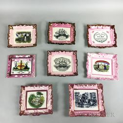 Eight Transfer-decorated Pink and Copper Lustre Plaques