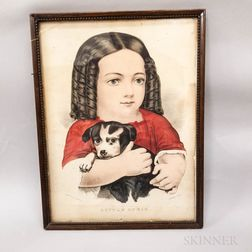 Framed Currier & Ives Lithograph Little Annie