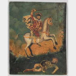Continental, Possibly French, School, 18th/19th Century      A Mounted Officer with a Fallen Foe