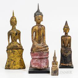 Four Laotian Gilt and Polychrome Buddhas
