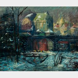 Arthur Clifton Goodwin (American, 1866-1929)      Cathedral Parkway, St. John the Divine