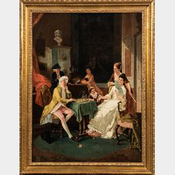 French School, 19th/20th Century      A Game of Chess and Courtship