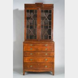 Federal Mahogany Glazed Inlaid Desk and Bookcase