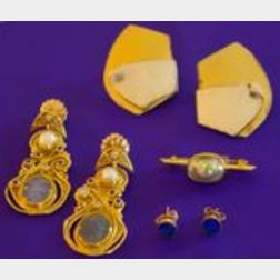 Two Pairs of Artist-Designed Earrings, a 14kt Gold and Pearl Brooch, and a Pair of   14kt Gold Lapis Lazuli Earstuds