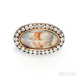 Antique Portrait Miniature and Diamond Brooch, Tiffany & Co.
