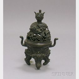 Small Asian Cast Bronze Footed Incense Burner