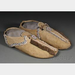 Pair of Comanche Beaded Hide Moccasins
