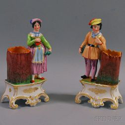 Pair of Painted Porcelain Figural Spill Vases