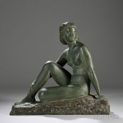 After Demtre Chiparus (Romanian, 1888-1950)     Seated Nude