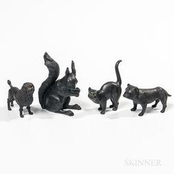 Four Wedgwood Black Basalt Animals