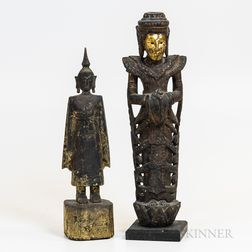 Two Thai Buddhist Figural Carvings