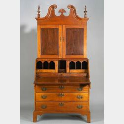 Chippendale Mahogany and Maple Scroll-top Desk/Bookcase