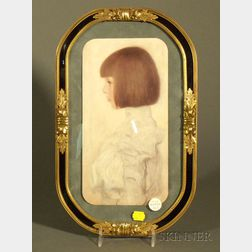 Gilt Metal and Black Glass Picture/Mirror Frame