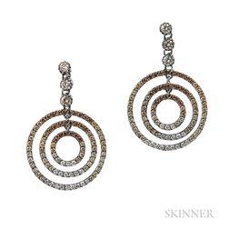 Blackened Gold, Colored Diamond, and Diamond Circle Earrings