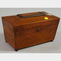 Walnut Veneer Casket-form Footed Tea Caddy