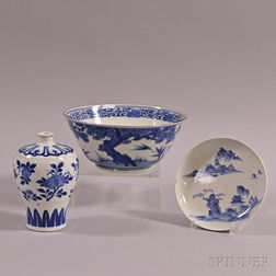 Three Blue and White Porcelain Items