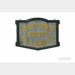 "Painted and Gilt-lettered Double-sided ""BOSTON YACHT CLUB"" Sign"