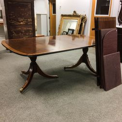 Federal-style Carved and Inlaid Mahogany Double-pedestal Dining Table