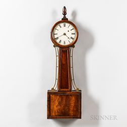 "New England Mahogany Wood-front Patent Timepiece or ""Banjo"" Clock"