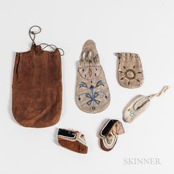 Three Plains Hide Pouches and Three Infant's Moccasins