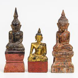 Three Burmese Polychrome Wooden Buddhas