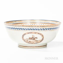 Chinese Export Porcelain Punch Bowl with Hunt Scenes