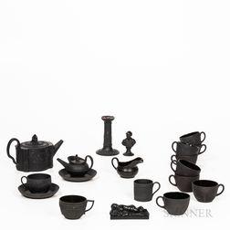 Nineteen Pieces of Black Basalt Tableware