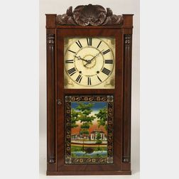 Mahogany Carved and Mahogany Veneer Shelf Clock