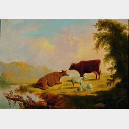 Attributed to Thomas Hewes Hinckley (American, 1813-1896)    Cattle and Sheep at Pasture
