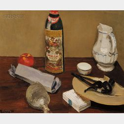 Edmund Quincy (American, 1903-1997)      Still Life with Pipes