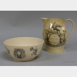 Liverpool Creamware Transfer Decorated Jug and Footed Bowl