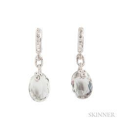 18kt Gold, Quartz, and Diamond Earrings, Judith Ripka