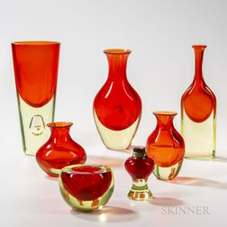 Seven Antonio da Ros (Italian, 1936-2012) for Cenedese Sommerso Art Glass Pieces