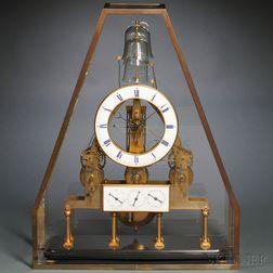 Texier Petite Sonnerie Skeleton Calendar Clock with Remontoire