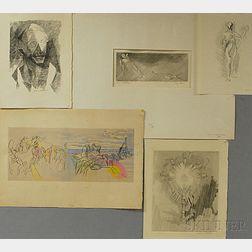 Jacques Villon (French, 1875-1963)      Five Prints:   Portrait de Valery
